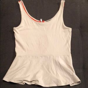 Size M tan and coral peplum top from Express